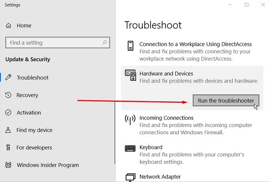 Hardware and Devices Troubleshooter
