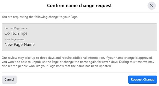 Facebook Page Name Change Confirmation